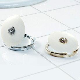 コンパクトミラー「ホワイトパール」【手鏡 鏡 ハンドミラー 携帯 両面】 #シャワー浴びよう