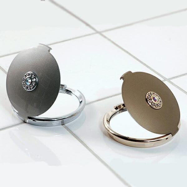 コンパクトミラー「ラウンドクリスタル」【手鏡 鏡 ハンドミラー 携帯 両面】