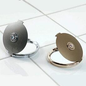 コンパクトミラー「ラウンドクリスタル」【手鏡 鏡 ハンドミラー 携帯 両面】 #シャワー浴びよう