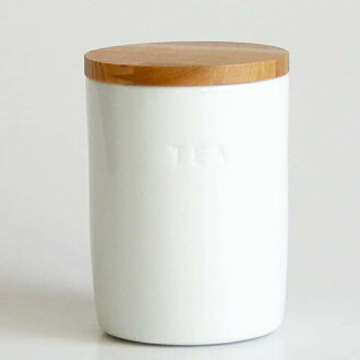 """Canister """"wood lid-white canister tea"""
