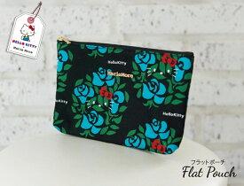 【着後レビューでポーチがもらえる!】【メール便 送料無料 / あす楽対応】キティちゃん 大人 かわいい 通帳が入るフラットポーチ marie more メアリーモア 薔薇柄 MM-0034MK-BL