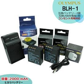 送料無料★コンセント充電可能★オリンパス BLH-1 互換バッテリー 2点 & 互換充電器 1個とACアダプター1個の 4点スペシャルセット E-M1X / OM-D E-M1 Mark2 / OM-D E-M1 MarkII コンセント充電用ACアダプター付(A2.1) OM-D E-M1 MarkIII