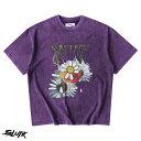 SALUTE HK サルーテ T-shirt パープル フラワー 半袖 Tシャツ WASHED F...