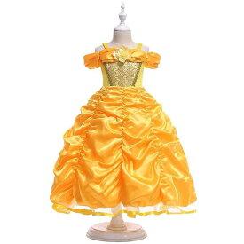 ベル プリンセスドレス 衣装 コスプレ プリンセス ハロウィン 子供 美女と野獣 仮装 ワンピース お姫様 遊び会 幼稚園 お誕生日 お祝い パーティーMTE2366