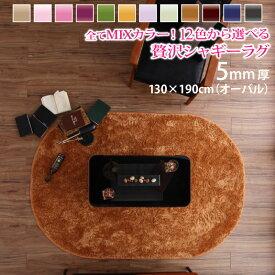 12色×6サイズから選べる すべてミックスカラー ふかふかマイクロファイバーの贅沢シャギーラグ 130×190cm(オーバル)