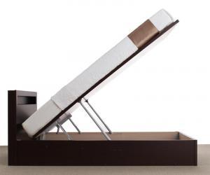 お客様組立開閉タイプが選べる跳ね上げ収納ベッドGrandLグランド・エル薄型スタンダードポケットコイルマットレス付き縦開きセミシングル深さラージ(代引不可)