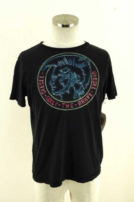 ディーゼル DIESEL クルーネックTシャツ メンズ - ブラック × レッド × ブルー S コットンクルーネックTシャツ【中古】【ブランド古着バズストア】【190717】