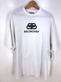 BALENCIAGA バレンシアガ クルーネックTシャツ メンズ 2018年春夏新作 白系 import:S 日本サイズ:S-M 相当 BBロゴプリントtシャツ【中古】【ブランド古着バズストアBAZZSTORE】【160820】