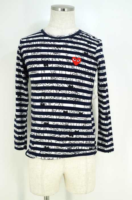 プレイコムデギャルソン PLAY COMME des GARCONS Tシャツ・カットソー サイズS メンズ AD2009 ボーダー柄×キャラクタープリントカットソー【中古】【ブランド古着バズストア】【260617】