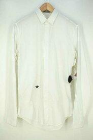 ディオールオム Dior HOMME シャツ メンズ - 白系 エディ期 BEEワンポイント刺繍カッターシャツ【中古】【ブランド古着バズストアBAZZSTORE】【200619】