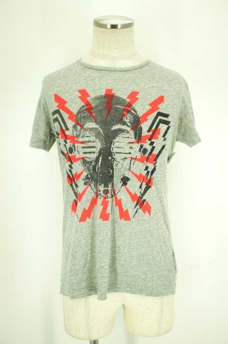 ディーゼル DIESEL クルーネックTシャツ メンズ - グレイ × オレンジ S 【中古】【ブランド古着バズストア】【181217】