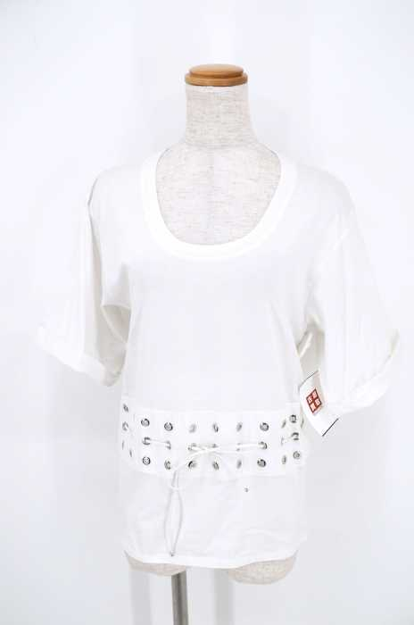 DIESEL BLACK GOLD(ディーゼルブラックゴールド) UネックTシャツ サイズ[XS] レディース レースアップ 【中古】【ブランド古着バズストア】【180118】