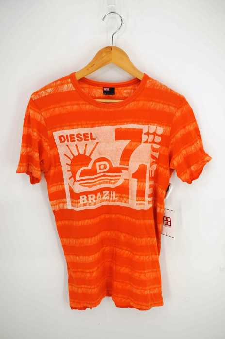 ディーゼル DIESEL クルーネックTシャツ メンズ - オレンジ系 × 白系 import:S プリントTシャツ【中古】【ブランド古着バズストア】【290618】