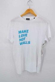 ディーゼル DIESEL クルーネックTシャツ メンズ 2017年春夏新作 青系 × 白系 17SS MAKE LOVE NOT WALLS メッセージプリントTシャツ【中古】【ブランド古着バズストアBAZZSTORE】【291119】