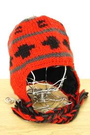 ザノースフェイス THE NORTH FACE ニット帽子 メンズ - 黒系 × 赤系 ウィンドストッパーニット帽【中古】【ブランド古着バズストアBAZZSTORE】【040220】