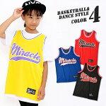キッズDRYバスケットタンクトップMiracleラインダンス衣装チームユニホームチアダンス女の子男の子gx-0002【BB】