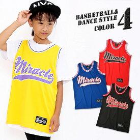 キッズ DRY バスケットタンクトップ Miracle ライン ダンス 衣装 チームユニホーム チアダンス 女の子 男の子 gx-0002 【BB】