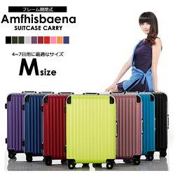 スーツケース、Wキャスター搭載Mサイズ4〜7日用、中型。極深溝式フレームタイプ。人気新作の同系色パーツで揃えた傷に強いマット加工、TSAロック搭載、消臭抗菌の備長炭ネーム安心の1年間保証つき&送料無料!