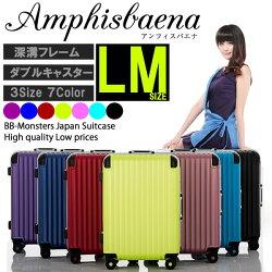 スーツケース、Wキャスター搭載Lサイズ7〜14日用、大型。極深溝式フレームタイプ。人気新作の同系色パーツで揃えた傷に強いマット加工、TSAロック搭載、消臭抗菌の備長炭ネーム安心の1年間保証つき&送料無料!