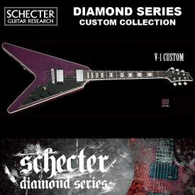 シェクター SCHECTER / V-1 CUSTOM TPUR V1 トランス・パープル(紫) フライングV・タイプ ダイヤモンドシリーズ ギグケース付 送料無料