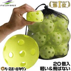 最大10%引クーポン 野球 練習 穴あきボール 20個セット 専用メッシュバッグ付き 軽い・やわらか・飛ばない・割れにくい FBB-20 フィールドフォース