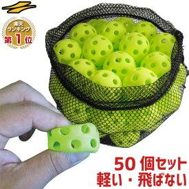 野球 練習 ミニ穴あきボール 50個セット 専用バッグ付き 軽い・やわらか・飛ばない・割れにくい 打撃 バッティング FBB-4050 フィールドフォース