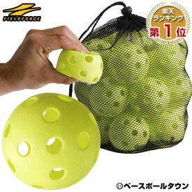 野球 練習 穴あきボール 20個セット 専用バッグ付き 軽い・やわらか・飛ばない・割れにくい 打撃 バッティング FBB-20 フィールドフォース