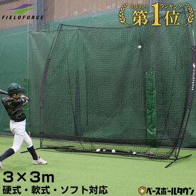 【あす楽】野球 練習 ネット 硬式 軟式M号・J号 ソフトボール対応 3m×3m ビッグネット 専用収納ケース付き 打撃 バッティング FBN-3030 フィールドフォース トレーニング