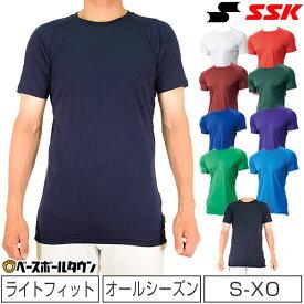 40%OFF 野球 アンダーシャツ メール便可 SSK 半袖 日本製 ローネック クルーネック ミドルフィットアンダー オールシーズン エアリーファン SCF170LH メンズ 男性 一般 大人 メール便可 ウェア