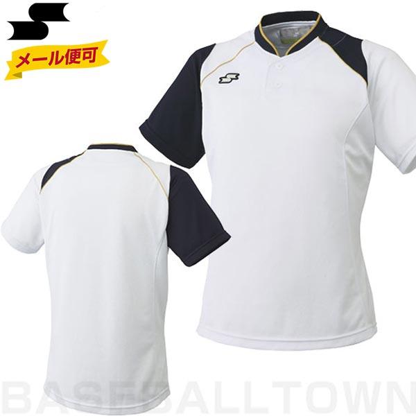 20%OFF 最大10%引クーポン SSK 野球 2ボタンベースボールシャツ ベースボールTシャツ ホワイト×ネイビー BT2240-1070 野球ウェア メール便可