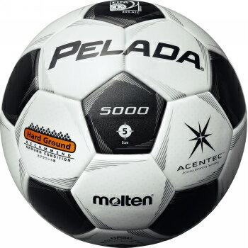 全品5%引クーポン 24%OFF モルテン サッカーボール ペレーダ5000土用 5号球 F5P5001 スノーホワイト×メタリックブラック 名入れ可(有料)