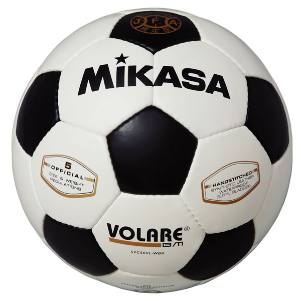 最大6%引クーポン ミカサ サッカーボール5号 検定球 手縫い 亀甲型 白/黒 SVC50VL-WBK