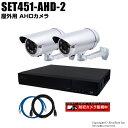 防犯カメラセット 210万画素 屋外 AHDカメラ2台と4chデジタルレコーダーセット(2TB内蔵)【SET451-AHD-2】