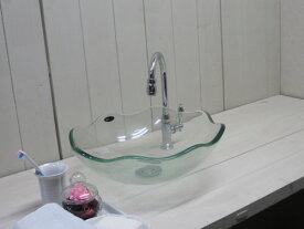 洗面ボウル おしゃれ ガラス フラワー クリア/透明 幅42×奥行42×高14cm INK-CC1005