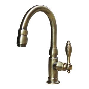 洗面 水栓 おしゃれ 蛇口 水栓金具 単水栓 レバーハンドル グースネック スパウト可動式 アンティークゴールド(古金) 奥行18.5×吐水口高16.5cm INK-0302045H