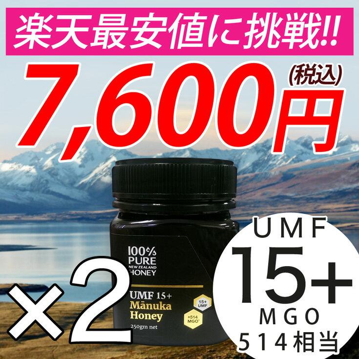 マヌカハニー UMF15+ 2個セット 250g ハニーバレー マヌカはちみつ スーパーフード 送料無料 ニュージーランド産 マヌカハニー なめらかでキャラメルのようなおいしい マヌカハニー
