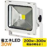 LED投光器(省エネLEDエコナイター)30W【LED-30D-ES-W(LED30W)】【作業ライト】防雨型・屋外型・球寿命約4,000時間。夜間作業用照明器具移動投光器