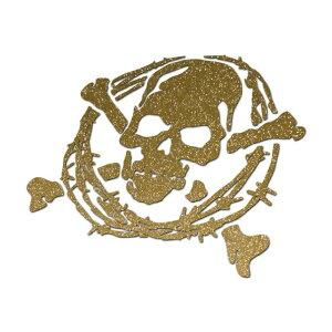 【大サイズ】ラメ入りスカルステッカー 切り抜きタイプC2有刺鉄線枠 17cm×15.4cm ゴールドラメ