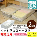 ベッド下収納ボックス2個組クリア【ベッド下 収納 ケース 収納 衣類収納 ボックス 収納BOX プラスチック製】