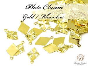 ZG-170【30個】*ミニチャーム*【ダイヤ】カン含む約13mm【ゴールド】チャーム ピアス ネックレス ひし形 菱形
