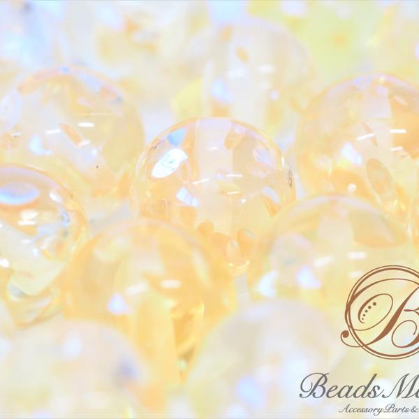 A-308【8個】*琥珀ビーズ*20mm【クリアイエロー】手芸用品 ハンドメイド 手作り 手づくり パーツ ビーズ 丸玉 半透明 アクセサリー アクセサリーパーツ ハンドメイドアクセサリー オリジナル 材料 セット パーツセット