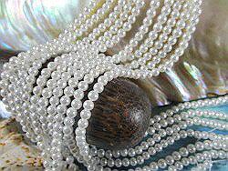 シェルパール(貝パール)シェルパーツ シェルビーズ 丸玉 ピュアホワイト 4mm玉 連 ハワイアンジュエリー制作用 シェルビーズ シェルパーツ