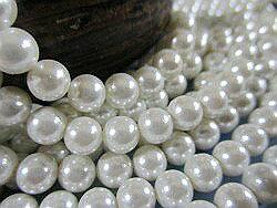 シェルパール(貝パール)丸玉 ピュアホワイト 8mm珠 連1本 シェルビーズ シェルパーツ パール シェル