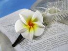 ヘアーアクセサリーフラワーバレッタ(プルメリア)−6(ハワイアン南太平洋から)