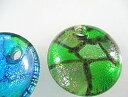 ガラス ペンダントトップ レディース 大きなDiskグリーン−40 ガラスパーツパーツ ペンダントトップ【ガラス ジュエ…