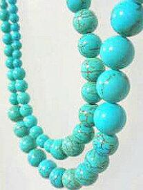 ターコイズ ネックレス 天然石 ネックレス製作用−207 ターコイズ パーツ ターコイズ アフリカングリーンターコイズ 丸珠 ロングネックレス仕様(サイズグラデーション)