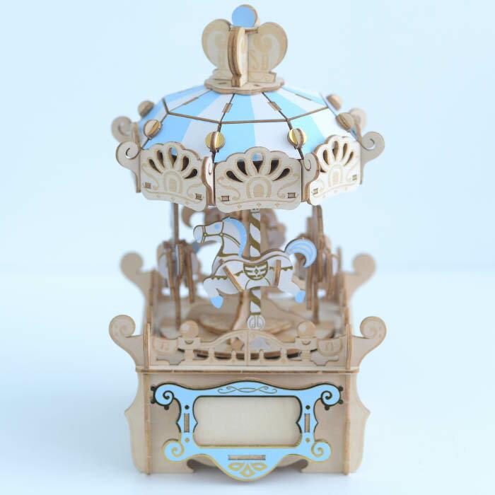 立体パズル 木製 Wooden Art ki-gu-mi オルゴール付き メリーゴーランド クラフト キット ハンドメイド 手作り インテリア 知育 リハビリ オルゴール 【送料無料】