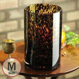 花瓶 ガラス フラワーベース 漆黒のヒョウ柄 筒形M アンバー M 778-981-038 _PP02 花器 花器 フラワーベース 豹柄 インテリア オブジェ カフェ プランター 室内 プレゼント 新築祝い 引越し祝い 新居祝い