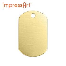 ネームタグ 刻印 名入れ インプレスアート ドッグタグ 真鍮 約32×19mm U3008//1 ネームプレート アルファベット レザー メッセージ DIY ドッグプレート ドッグタグ 首輪 レザークラフト 名札