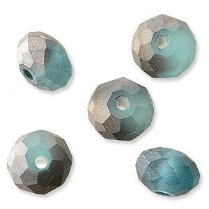 ガラスビーズ ボタンカット ハーフコートフロスト ライトブルー 4×6mm 20個 アクセサリーパーツ